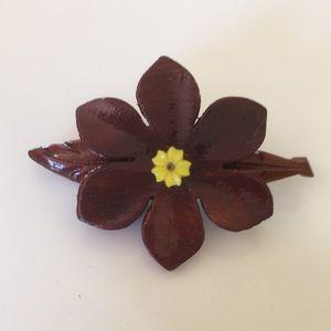 Vintage Pin - Flower with leaf